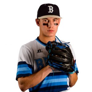 high school baseball pitcher with glove chest high